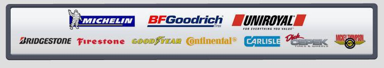 We proudly carry products from Michelin®, BFGoodrich®, Uniroyal®, Bridgestone, Firestone, Goodyear, Continental, Carlisle, Dick Cepek, and Mickey Thompson.