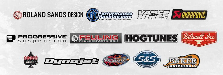 We carry products from Roland Sands Design, Performance Machine Inc., Vance & Hines, Akrapovic, Progressive Suspension, Feuling, Hogtunes, Biltwell, Klock Werks, Dynojet, Revolution Performance, S&S and Baker Drivetrain.