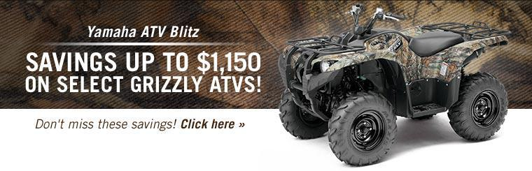 Yamaha ATV Blitz: Take advantage of savings up to $1,150 on select Grizzly ATVs!