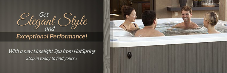 Get elegant style and exceptional performance with a new Limelight Spa from HotSpring! Click here to contact us.
