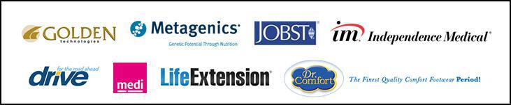 We carry products from Golden Technologies, Metagenics, Jobst, Independence Medical, Drive, medi, Life Extension, and Dr. Comfort.