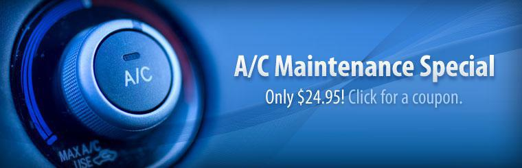 Our A/C Maintenance Special is only $24.95! Click here for a coupon.