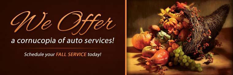 We offer a cornucopia of auto services! Schedule your fall service today!