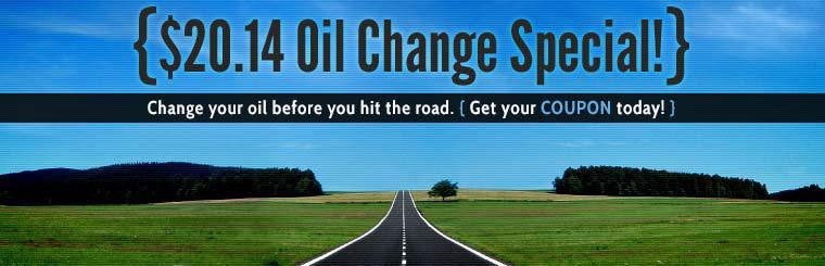$20.14 Oil Change Special: Click here for the coupon.