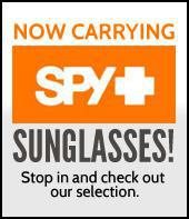 We now carry Spy sunglasses! Stop in and check out our selection.