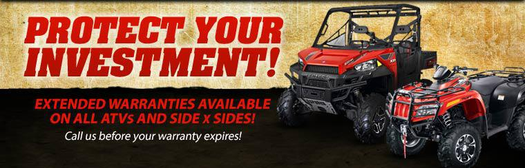 Protect your investment with an extended warranty for your ATV or side x side! Click here to view our showcase.