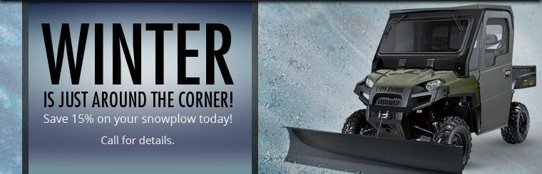 Winter is just around the corner, come in and save 15% on your snowplow today! Click here for directions.