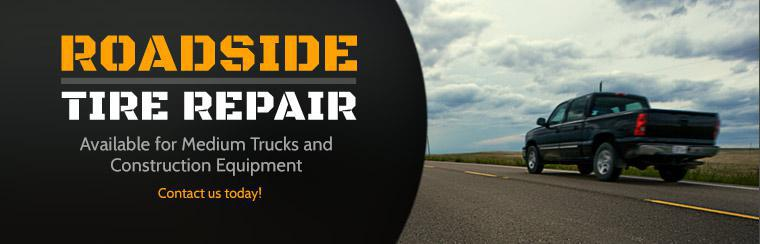 Roadside tire repair is available for medium trucks and construction equipment! Contact us today!