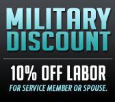 Military Discount: 10% off labor