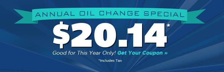 Get our Annual Oil Change Special for just $20.14!
