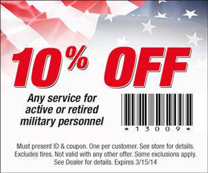 10% discount for active or retired military personnel with coupon
