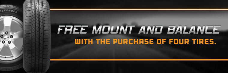 Get a free mount and balance with the purchase of four tires! Click here for your coupon.