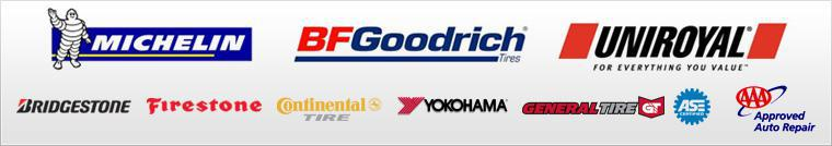 We carry products from Michelin®, BFGoodrich®, Uniroyal®, Bridgestone, Firestone, Continental, Yokohama, and General Tire. Our technicians are ASE certified. We are a AAA Approved Auto Repair facility.