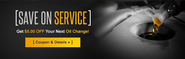 Get $5.00 off your next oil change! Click here for details.