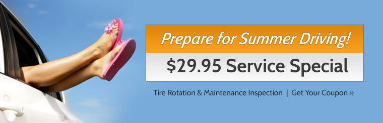 Click here for a coupon to receive a tire rotation and maintenance inspection for just $29.95.