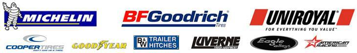 We proudly offer products from Michelin®, BFGoodrich®, Uniroyal®, Cooper, Goodyear, B & W, Luverne, Eagle Alloys, and American Racing.