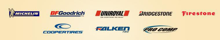We are proud to feature tires from Michelin®, BFGoodrich®, Uniroyal®,Bridgestone, Firestone, Cooper, Falken and Pro Comp