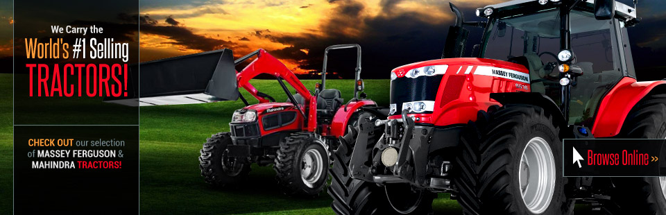 We carry Massey Ferguson and Mahindra; the world's #1 selling tractors! Click here to view our selection.