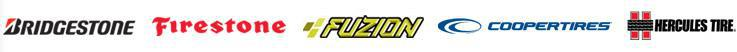 We offer products from Bridgestone, Firestone, Fuzion, Cooper, and Hercules Tire.