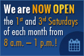We are now open the 1st and 3rd Saturdays of each month from 8 a.m. – 1 p.m.!