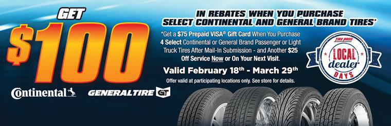 Continental Tire $100 Rebate