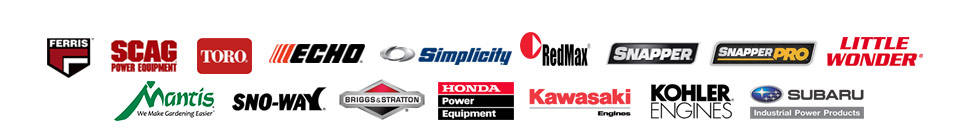 We carry products from Ferris, Scag, Toro, ECHO, Simplicity, RedMax, Snapper, Snapper Pro, Little Wonder, Mantis, Sno-Way, Briggs & Stratton, Honda Engines, Kawasaki Engines, Kohler Engines, and Subaru Industrial Power.
