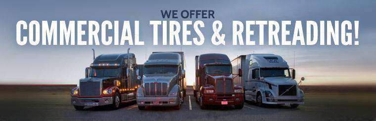 We offer commercial tires and retreading! Click here to view our list of services.