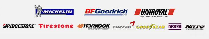 We carry products from Michelin®, BFGoodrich®, Uniroyal®, Bridgestone, Firestone, Hankook, Kumho, Goodyear, Nexen, and Nitto.