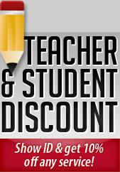 Teacher and Student Discount - Show ID and get 10% off any service!