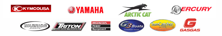 We carry products from Kymco, Yamaha, Arctic Cat, Mercury, Warrior Boats, Triton Trailers, Honda Power Equipment, G3 Boats, Sun Catcher, and Gas Gas.