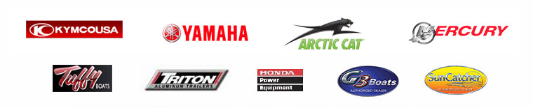We carry products from Kymco, Yamaha, Arctic Cat, Mercury, Tuffy Boats, and Triton Trailers