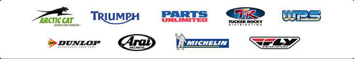 We proudly offer products from Arctic Cat, Triumph, Parts Unlimited, Tucker Rocky, Western Power Sports, Dunlop, Arai Helmets, Michelin®, and Fly.