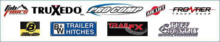 We provide products from FabFours, Truxedo, ProComp, AirLift, Frontier, BesTop, B & W Hitches, Trail FX, Tuff Country