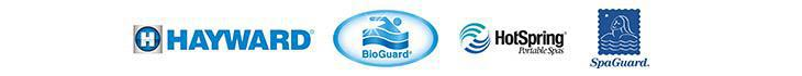 We carry products from Hayward, BioGuard, Hot Spring, and SpaGuard.