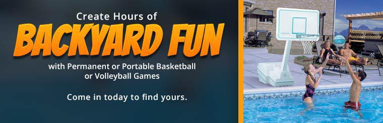 Create hours of backyard fun with permanent or portable basketball or volleyball games! Come in today to find yours.