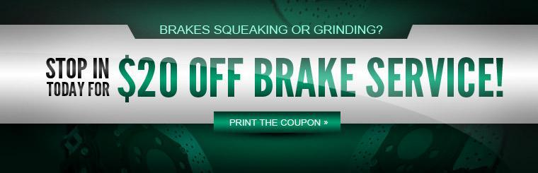 Stop in today for $20 off brake service! Click here to print the coupon.