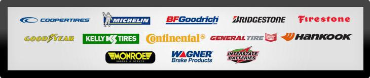 We carry tires from Cooper, Michelin®, BFGoodrich®, Bridgestone, Firestone, Goodyear, Continental, Kelly, Continental, General, Hankook, Monroe, Wagner, and Interstate Batteries.