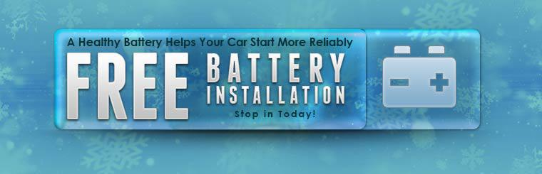 A healthy battery helps your car start more reliably. We offer free battery installation! Stop in today!