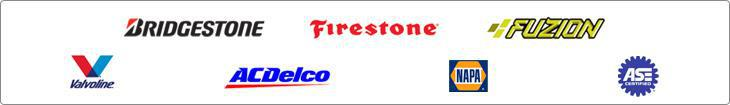 We offer products from Bridgestone, Firestone, Fuzion, Valvoline, ACDelco, and Napa.  We are ASE Certified.