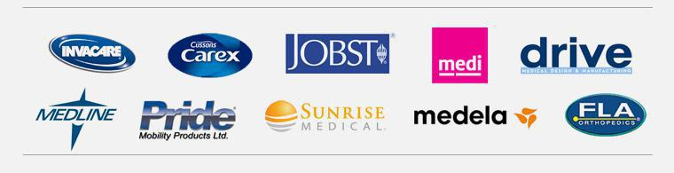 We proudly carry products by Invacare, Carex, Dive, Jobst, Medline, Pride, Sunrise, Medela, FLA, and Medi USA.