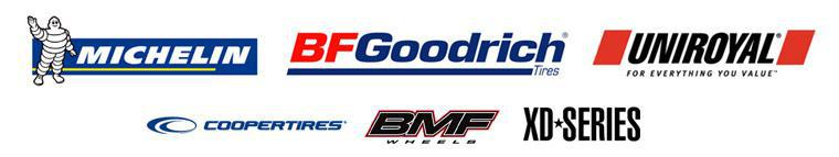 We proudly carry products from: Michelin®, BFGoodrich®, Uniroyal®, Cooper Tire, BMF Wheels, and XD-Series Wheels