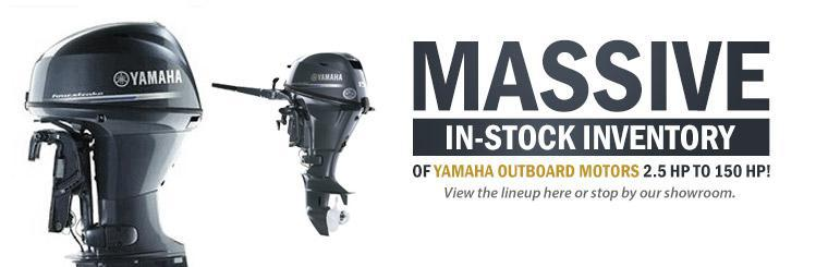 We have a massive in-stock inventory of Yamaha outboard motors from 2.5 hp to 150 hp! View the lineup here or stop by our showroom.