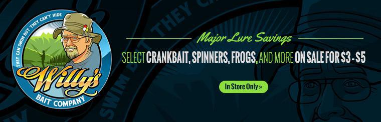 Major Lure Savings: Select crankbait, spinners, frogs, and more are on sale for $3 to $5! Contact us for details.