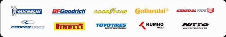 We carry products from Michelin®, BFGoodrich®, Goodyear, Continental, General, Cooper, Pirelli, Toyo, Kumho, and Nitto.