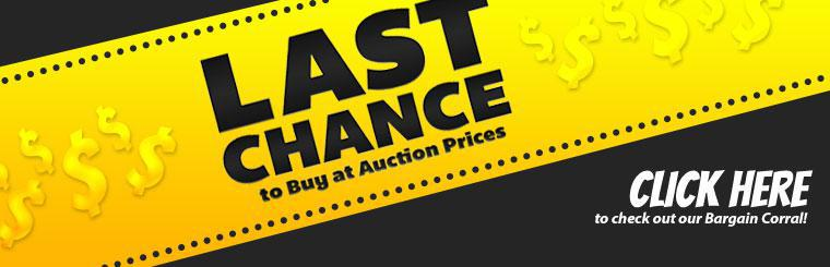 Last Chance to Buy at Auction Prices: Click here to check out our Bargain Corral!