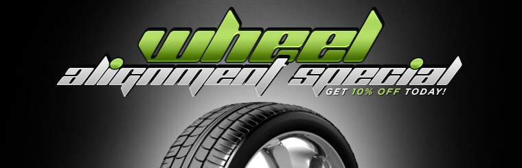Wheel Alignment Special: Get 10% off today!