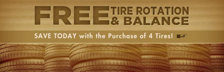 Get a free tire rotation and balance with the purchase of 4 tires!