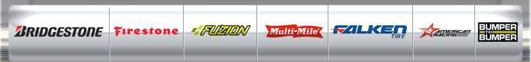 We carry products from Bridgestone, Firestone, Fuzion, Multi-Mile, Falken, American Racing, and Bumper to Bumper.