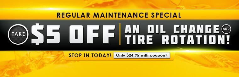 Take $5 off an oil change and tire rotation with our Regular Maintenance Special! Stop in today! Click here for a coupon.