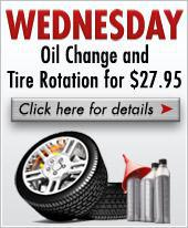 Wednesday Oil Change Special and tire rotation for $27.95